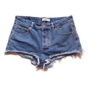Pull & Bear ASOS High Waist Buttonfly Jean Shorts